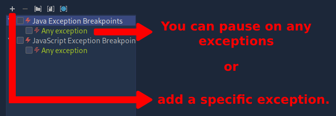 4 set exception breakpoint
